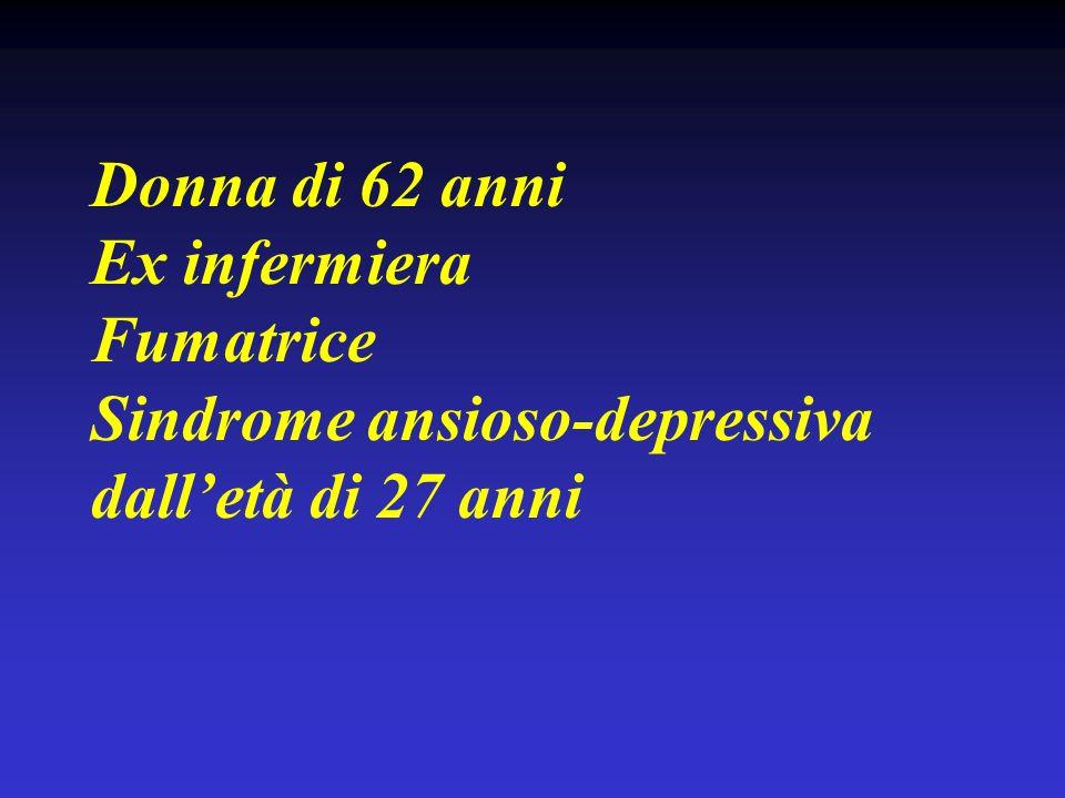 Donna di 62 anni Ex infermiera Fumatrice Sindrome ansioso-depressiva dalletà di 27 anni