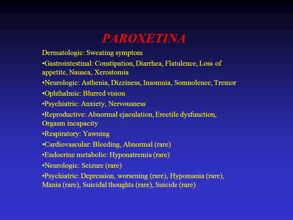 PAROXETINA Dermatologic: Sweating symptom Gastrointestinal: Constipation, Diarrhea, Flatulence, Loss of appetite, Nausea, Xerostomia Neurologic: Asthe