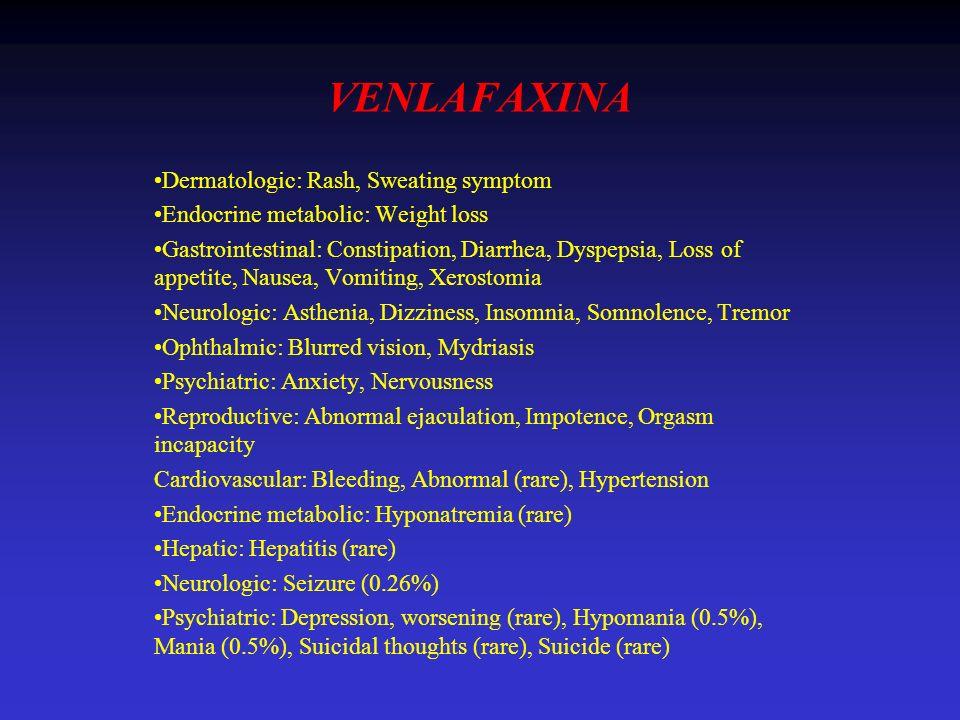 VENLAFAXINA Dermatologic: Rash, Sweating symptom Endocrine metabolic: Weight loss Gastrointestinal: Constipation, Diarrhea, Dyspepsia, Loss of appetit