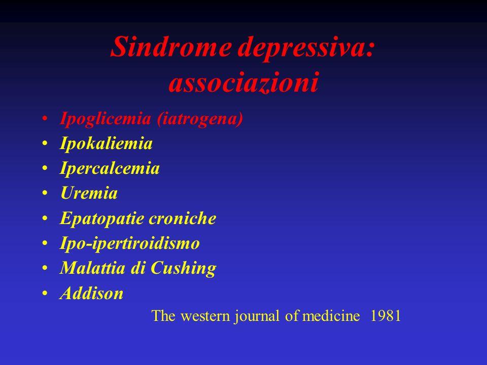 Sindrome depressiva: associazioni Ipoglicemia (iatrogena) Ipokaliemia Ipercalcemia Uremia Epatopatie croniche Ipo-ipertiroidismo Malattia di Cushing A