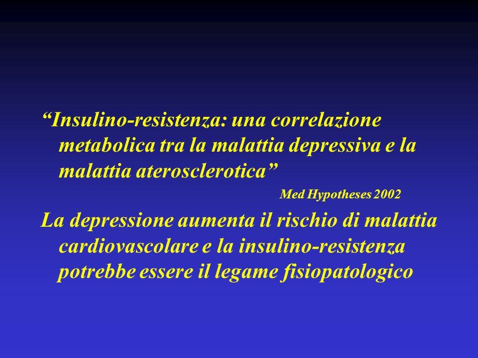 Insulino-resistenza: una correlazione metabolica tra la malattia depressiva e la malattia aterosclerotica Med Hypotheses 2002 La depressione aumenta i