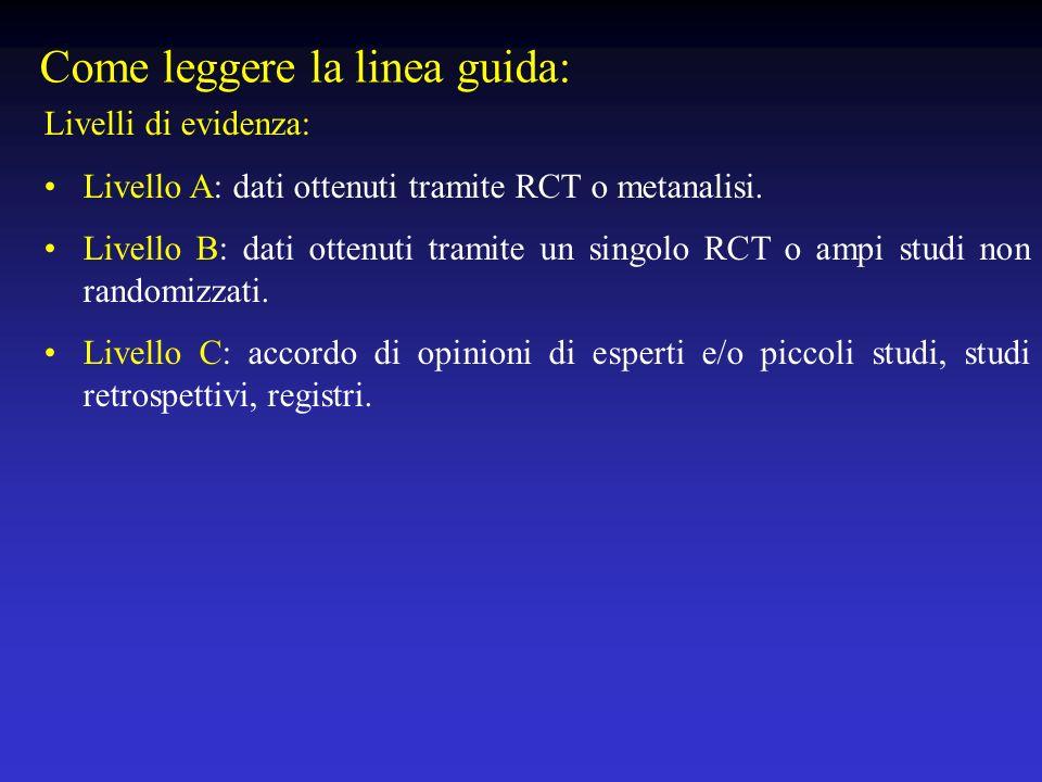 Come leggere la linea guida: Livelli di evidenza: Livello A: dati ottenuti tramite RCT o metanalisi. Livello B: dati ottenuti tramite un singolo RCT o