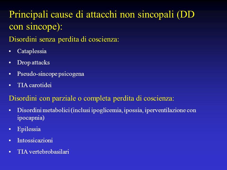 Principali cause di attacchi non sincopali (DD con sincope): Disordini senza perdita di coscienza: Cataplessia Drop attacks Pseudo-sincope psicogena T