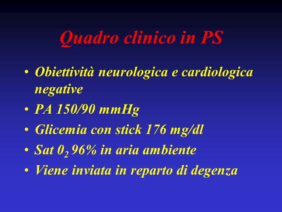 Quadro clinico in PS Obiettività neurologica e cardiologica negative PA 150/90 mmHg Glicemia con stick 176 mg/dl Sat 0 2 96% in aria ambiente Viene in