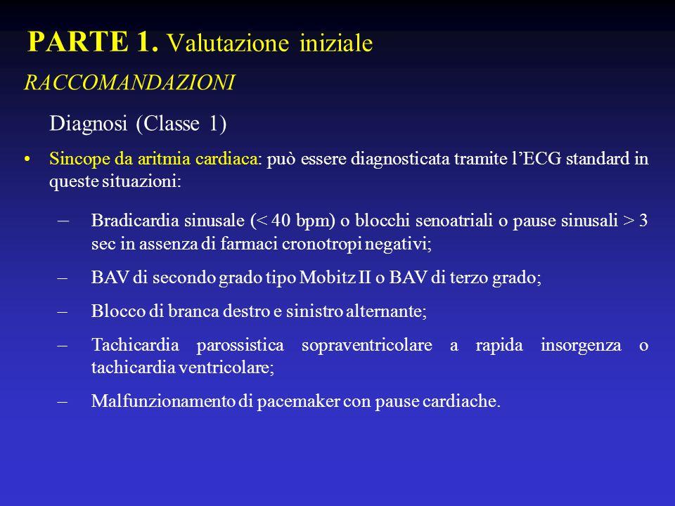 PARTE 1. Valutazione iniziale RACCOMANDAZIONI Diagnosi (Classe 1) Sincope da aritmia cardiaca: può essere diagnosticata tramite lECG standard in quest