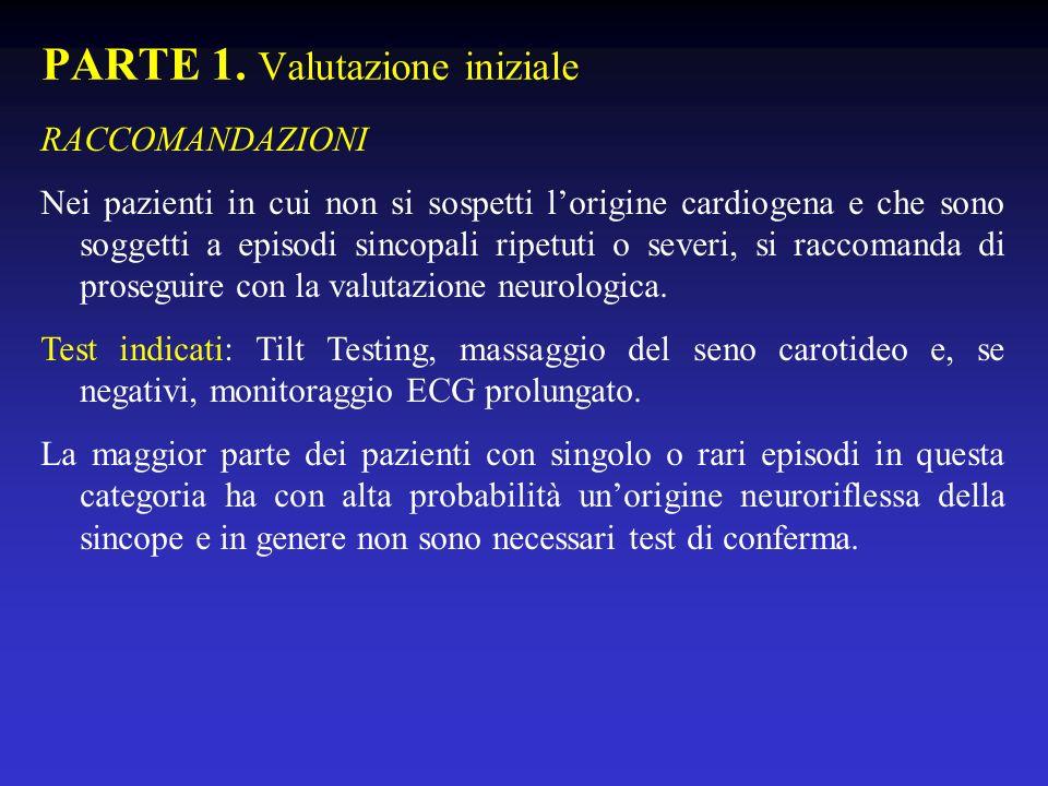 PARTE 1. Valutazione iniziale RACCOMANDAZIONI Nei pazienti in cui non si sospetti lorigine cardiogena e che sono soggetti a episodi sincopali ripetuti