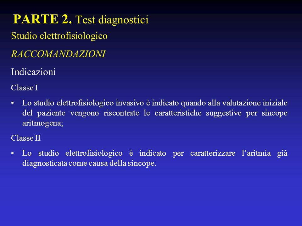 PARTE 2. Test diagnostici Studio elettrofisiologico RACCOMANDAZIONI Indicazioni Classe I Lo studio elettrofisiologico invasivo è indicato quando alla
