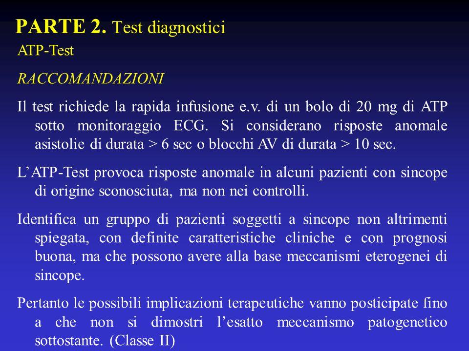 PARTE 2. Test diagnostici ATP-Test RACCOMANDAZIONI Il test richiede la rapida infusione e.v. di un bolo di 20 mg di ATP sotto monitoraggio ECG. Si con