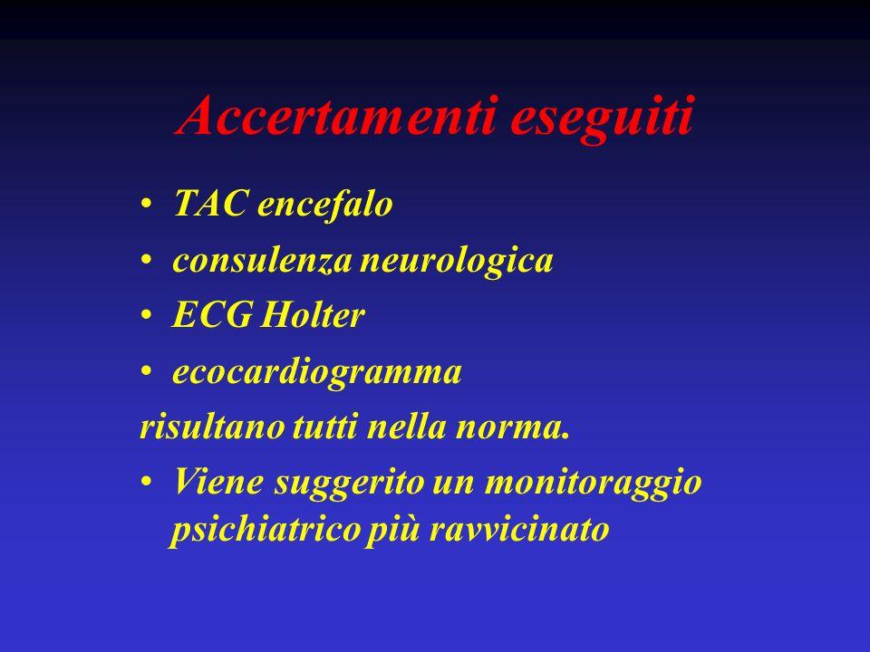 Accertamenti eseguiti TAC encefalo consulenza neurologica ECG Holter ecocardiogramma risultano tutti nella norma. Viene suggerito un monitoraggio psic