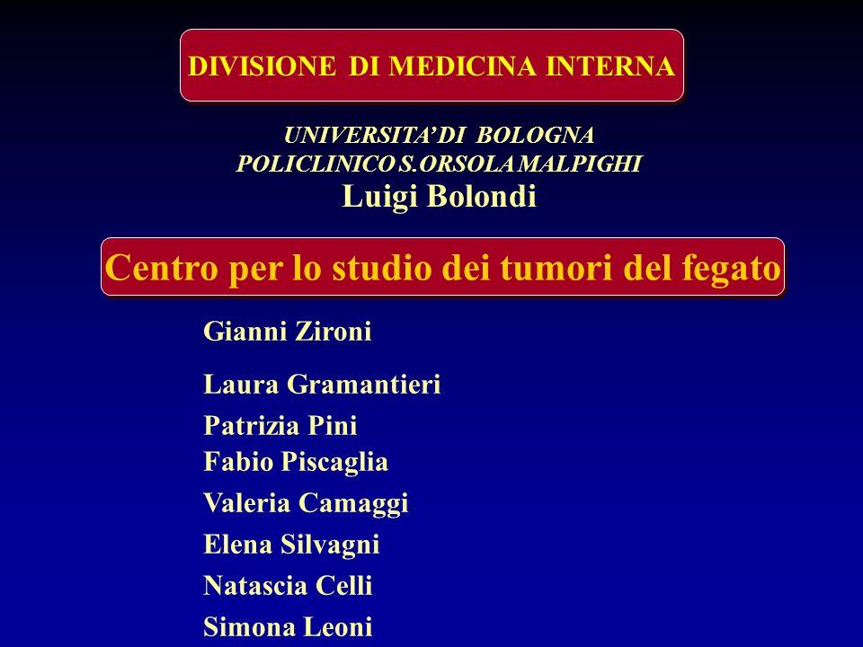 DIVISIONE DI MEDICINA INTERNA Centro per lo studio dei tumori del fegato UNIVERSITA DI BOLOGNA POLICLINICO S.ORSOLA MALPIGHI Luigi Bolondi Gianni Ziro