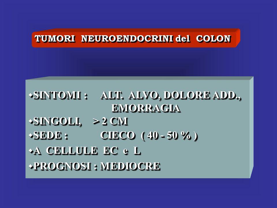 TUMORI NEUROENDOCRINI del COLON SINTOMI : ALT. ALVO, DOLORE ADD., SINTOMI : ALT. ALVO, DOLORE ADD., EMORRAGIA EMORRAGIA SINGOLI, > 2 CM SINGOLI, > 2 C