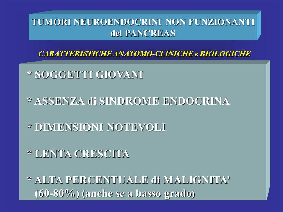 TUMORI NEUROENDOCRINI NON FUNZIONANTI del PANCREAS CARATTERISTICHE ANATOMO-CLINICHE e BIOLOGICHE * SOGGETTI GIOVANI * ASSENZA di SINDROME ENDOCRINA *