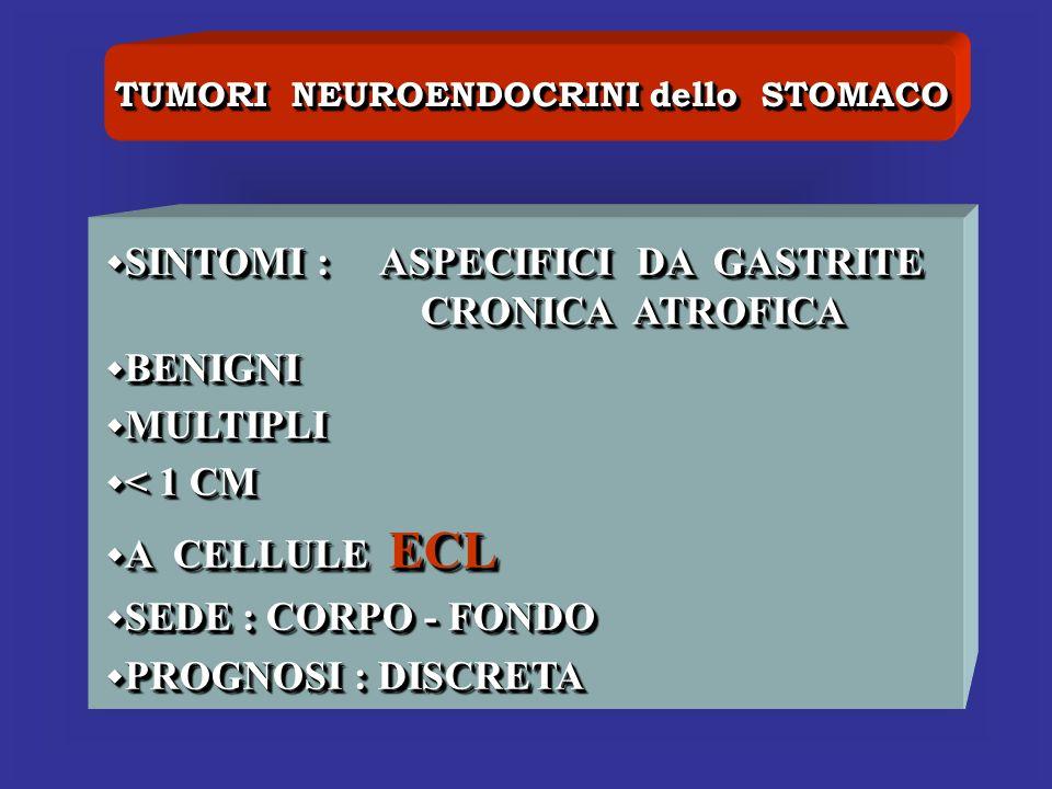 TUMORI NEUROENDOCRINI dello STOMACO SINTOMI : ASPECIFICI DA GASTRITE SINTOMI : ASPECIFICI DA GASTRITE CRONICA ATROFICA BENIGNI BENIGNI MULTIPLI MULTIP