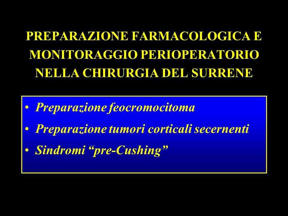 PREPARAZIONE FARMACOLOGICA E MONITORAGGIO PERIOPERATORIO NELLA CHIRURGIA DEL SURRENE Preparazione feocromocitoma Preparazione tumori corticali secerne