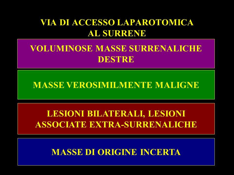 VIA DI ACCESSO LAPAROTOMICA AL SURRENE VOLUMINOSE MASSE SURRENALICHE DESTRE MASSE VEROSIMILMENTE MALIGNE LESIONI BILATERALI, LESIONI ASSOCIATE EXTRA-S