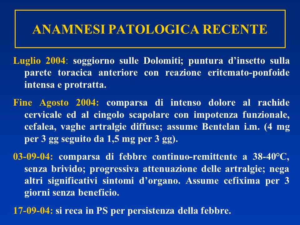 ANAMNESI PATOLOGICA RECENTE Luglio 2004: soggiorno sulle Dolomiti; puntura dinsetto sulla parete toracica anteriore con reazione eritemato-ponfoide in