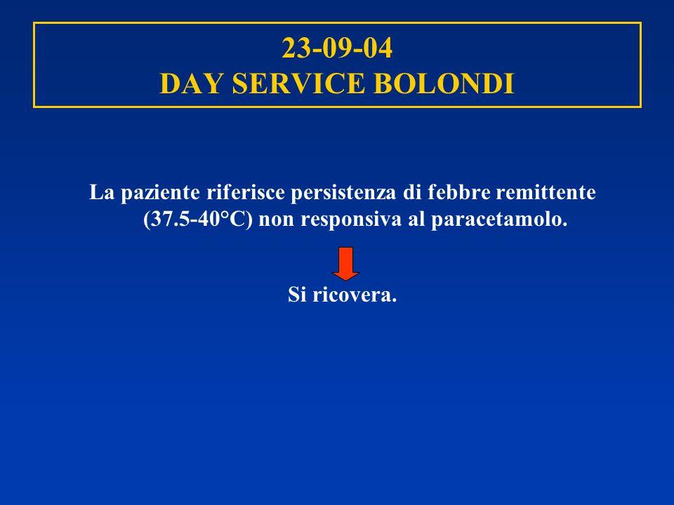 23-09-04 DAY SERVICE BOLONDI La paziente riferisce persistenza di febbre remittente (37.5-40°C) non responsiva al paracetamolo. Si ricovera.