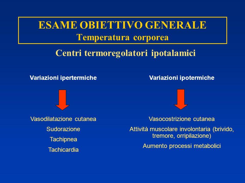 ESAME OBIETTIVO GENERALE Temperatura corporea Centri termoregolatori ipotalamici Variazioni ipertermiche Vasodilatazione cutanea Sudorazione Tachipnea