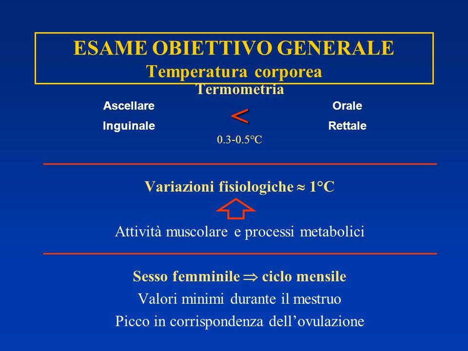 ESAME OBIETTIVO GENERALE Temperatura corporea Termometria< 0.3-0.5°C Variazioni fisiologiche 1°C Attività muscolare e processi metabolici Sesso femmin
