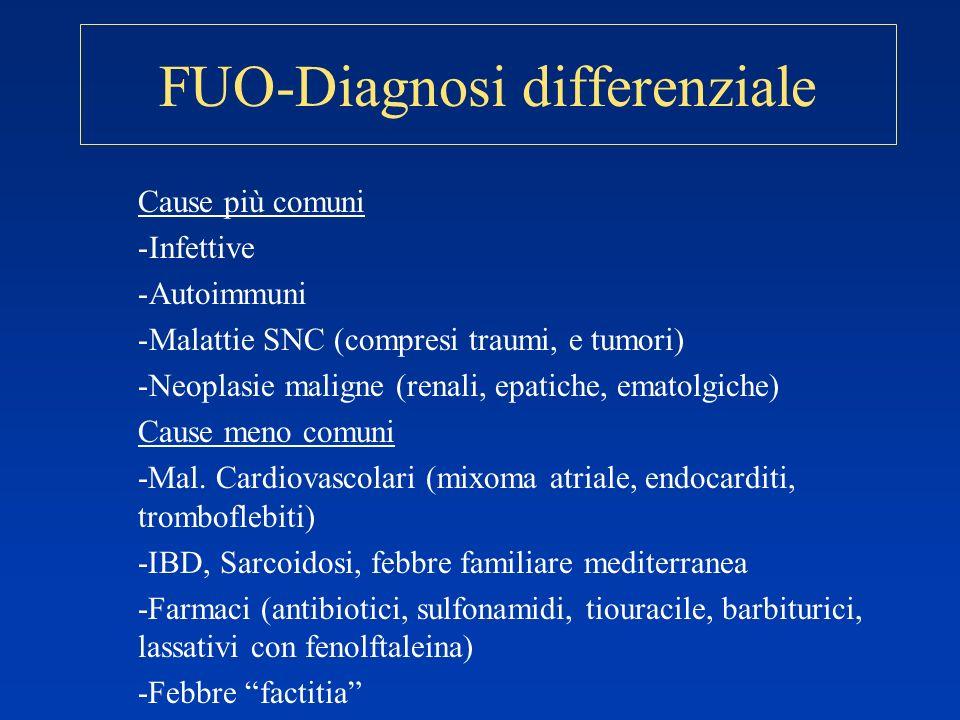 FUO-Diagnosi differenziale Cause più comuni -Infettive -Autoimmuni -Malattie SNC (compresi traumi, e tumori) -Neoplasie maligne (renali, epatiche, ema