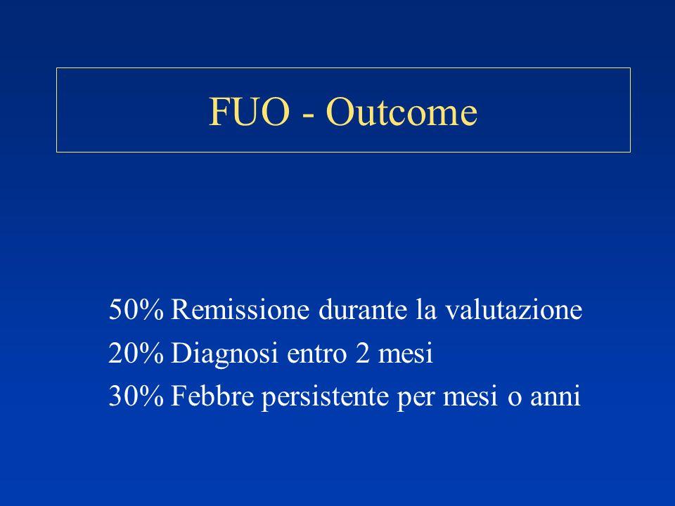 FUO - Outcome 50% Remissione durante la valutazione 20% Diagnosi entro 2 mesi 30% Febbre persistente per mesi o anni