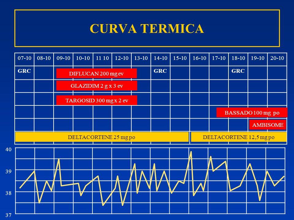 CURVA TERMICA 07-1008-1009-1010-1011 1012-1013-1014-1015-1016-1017-1018-1019-1020-10 GRC GLAZIDIM 2 g x 3 ev DIFLUCAN 200 mg ev DELTACORTENE 12,5 mg p