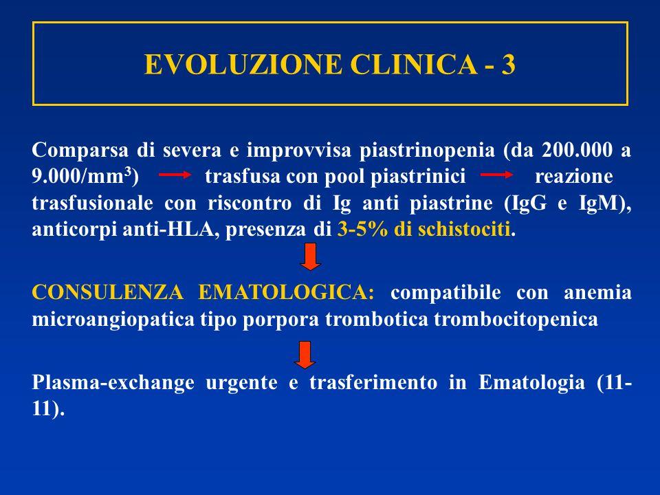 EVOLUZIONE CLINICA - 3 Comparsa di severa e improvvisa piastrinopenia (da 200.000 a 9.000/mm 3 ) trasfusa con pool piastrinici reazione trasfusionale