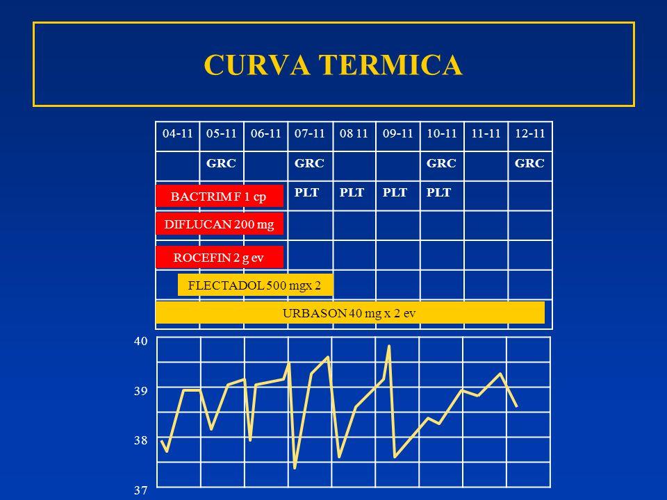 CURVA TERMICA 04-1105-1106-1107-1108 1109-1110-1111-1112-11 GRC PLT BACTRIM F 1 cp URBASON 40 mg x 2 ev ROCEFIN 2 g ev 40 39 38 37 DIFLUCAN 200 mg FLE