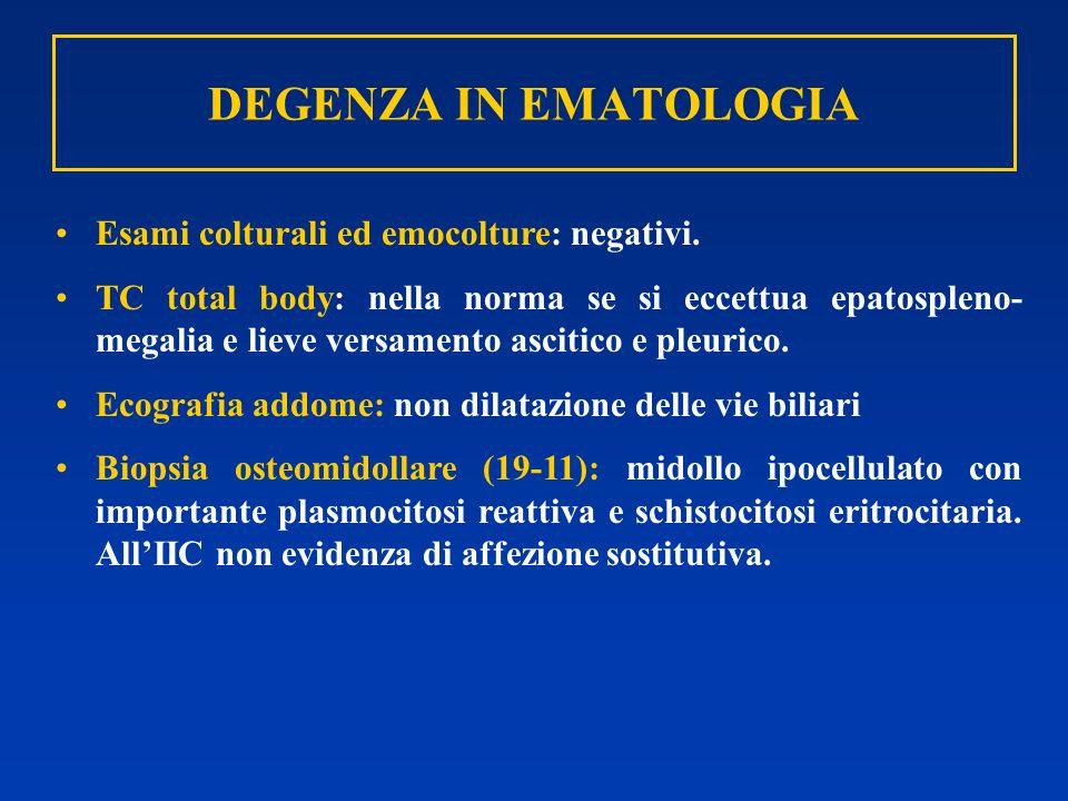 DEGENZA IN EMATOLOGIA Esami colturali ed emocolture: negativi. TC total body: nella norma se si eccettua epatospleno- megalia e lieve versamento ascit