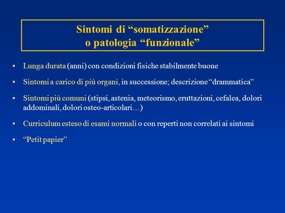Sintomi di somatizzazione o patologia funzionale Lunga durata (anni) con condizioni fisiche stabilmente buone Sintomi a carico di più organi, in succe