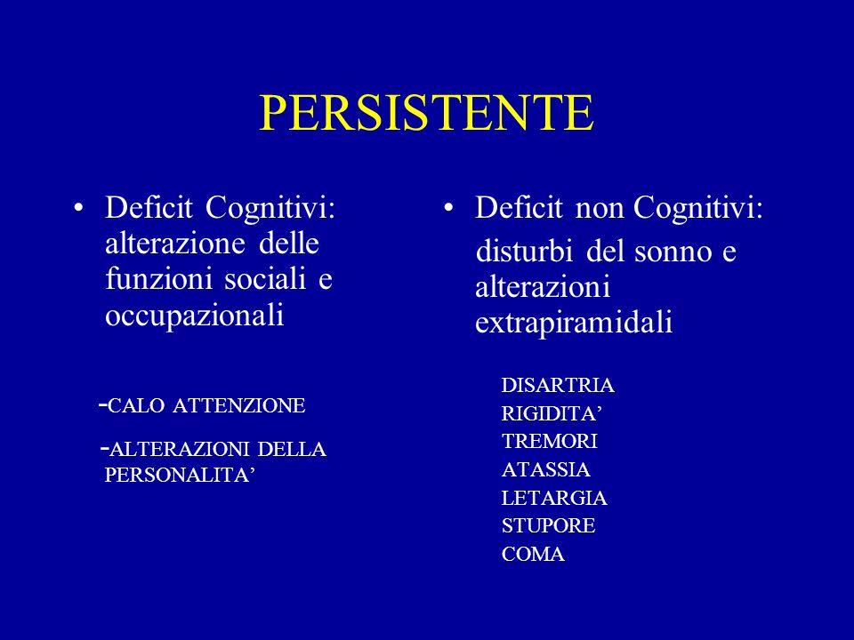 PERSISTENTE Deficit Cognitivi: alterazione delle funzioni sociali e occupazionali - CALO ATTENZIONE - ALTERAZIONI DELLA PERSONALITA Deficit non Cognit
