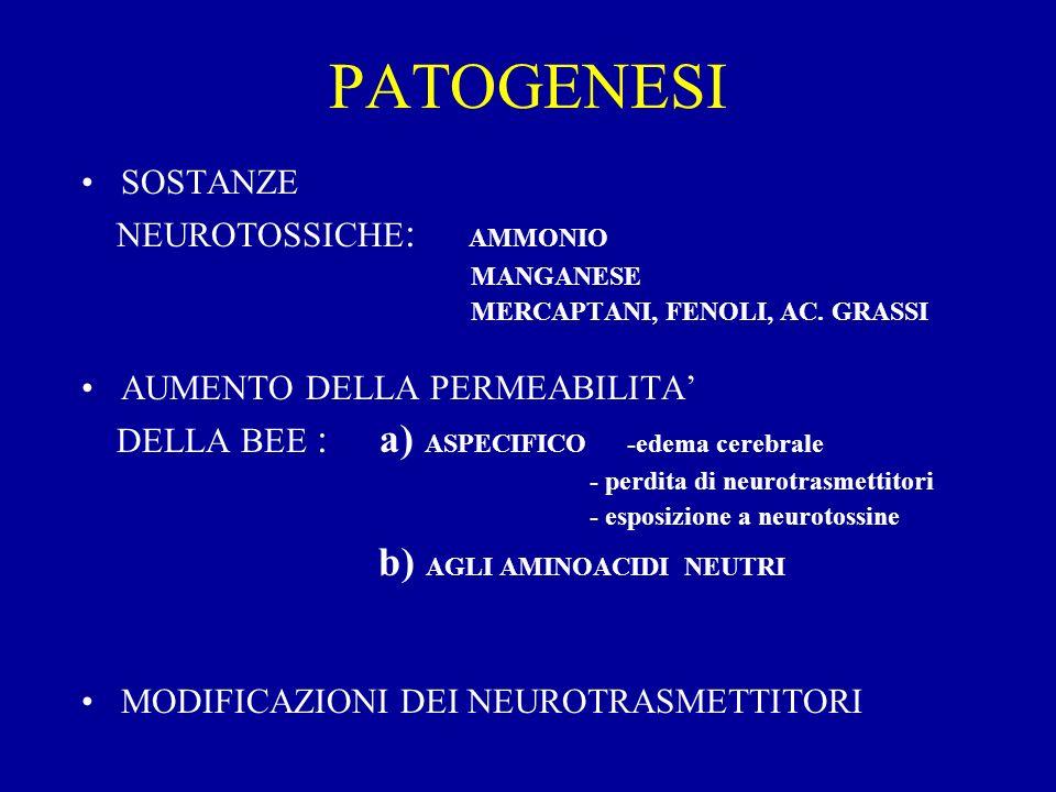 PATOGENESI SOSTANZE NEUROTOSSICHE : AMMONIO MANGANESE MERCAPTANI, FENOLI, AC. GRASSI AUMENTO DELLA PERMEABILITA DELLA BEE : a) ASPECIFICO -edema cereb