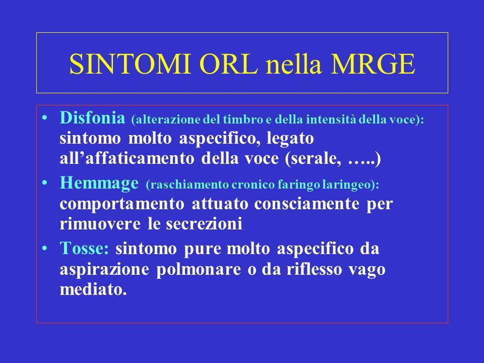 SINTOMI ORL nella MRGE Disfonia (alterazione del timbro e della intensità della voce): sintomo molto aspecifico, legato allaffaticamento della voce (s