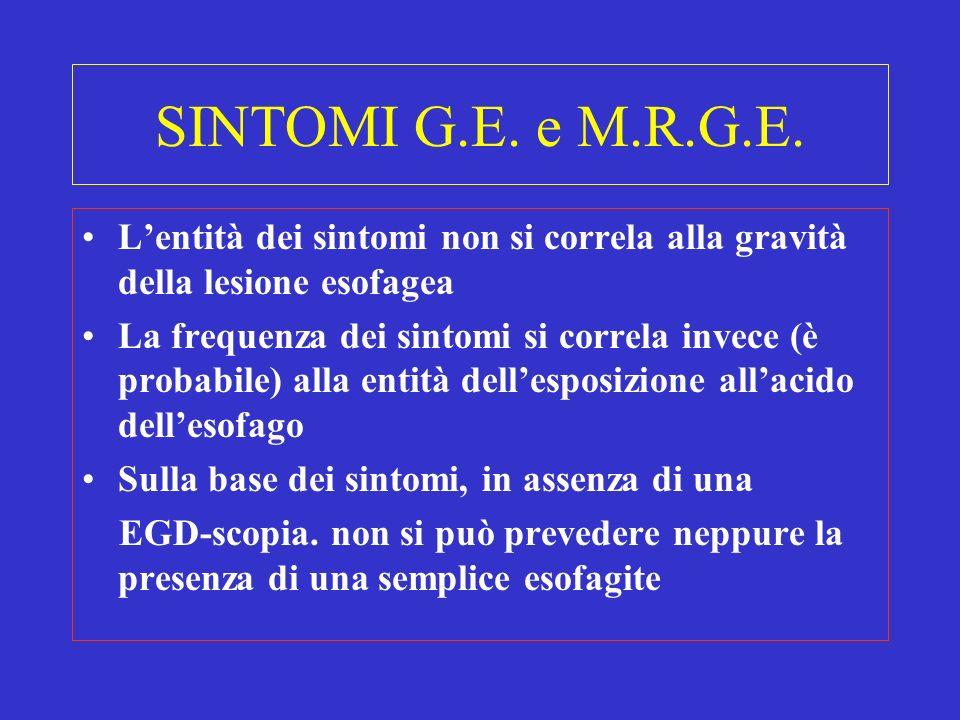SINTOMI G.E. e M.R.G.E. Lentità dei sintomi non si correla alla gravità della lesione esofagea La frequenza dei sintomi si correla invece (è probabile