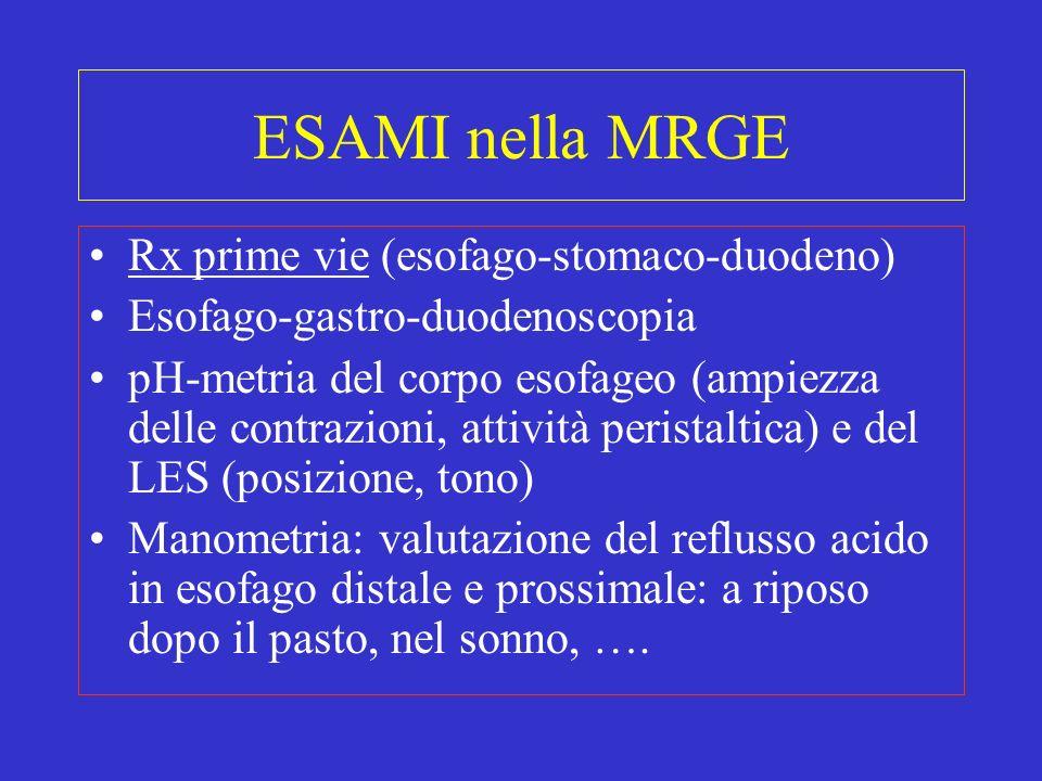 ESAMI nella MRGE Rx prime vie (esofago-stomaco-duodeno) Esofago-gastro-duodenoscopia pH-metria del corpo esofageo (ampiezza delle contrazioni, attivit