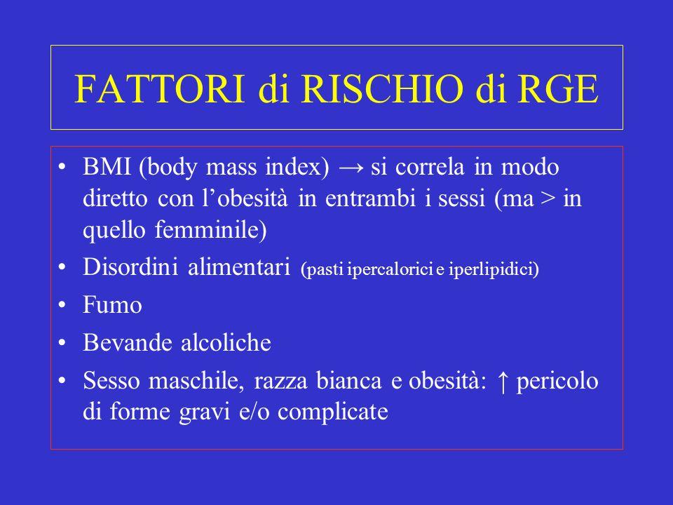 FATTORI di RISCHIO di RGE BMI (body mass index) si correla in modo diretto con lobesità in entrambi i sessi (ma > in quello femminile) Disordini alime