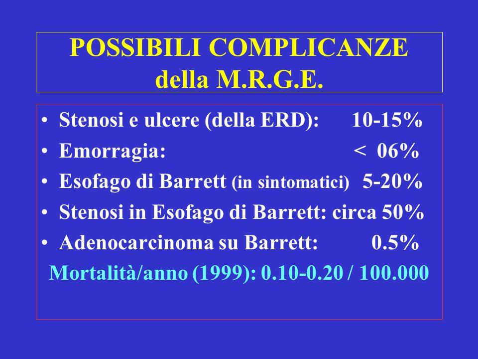 POSSIBILI COMPLICANZE della M.R.G.E. Stenosi e ulcere (della ERD): 10-15% Emorragia: < 06% Esofago di Barrett (in sintomatici) 5-20% Stenosi in Esofag