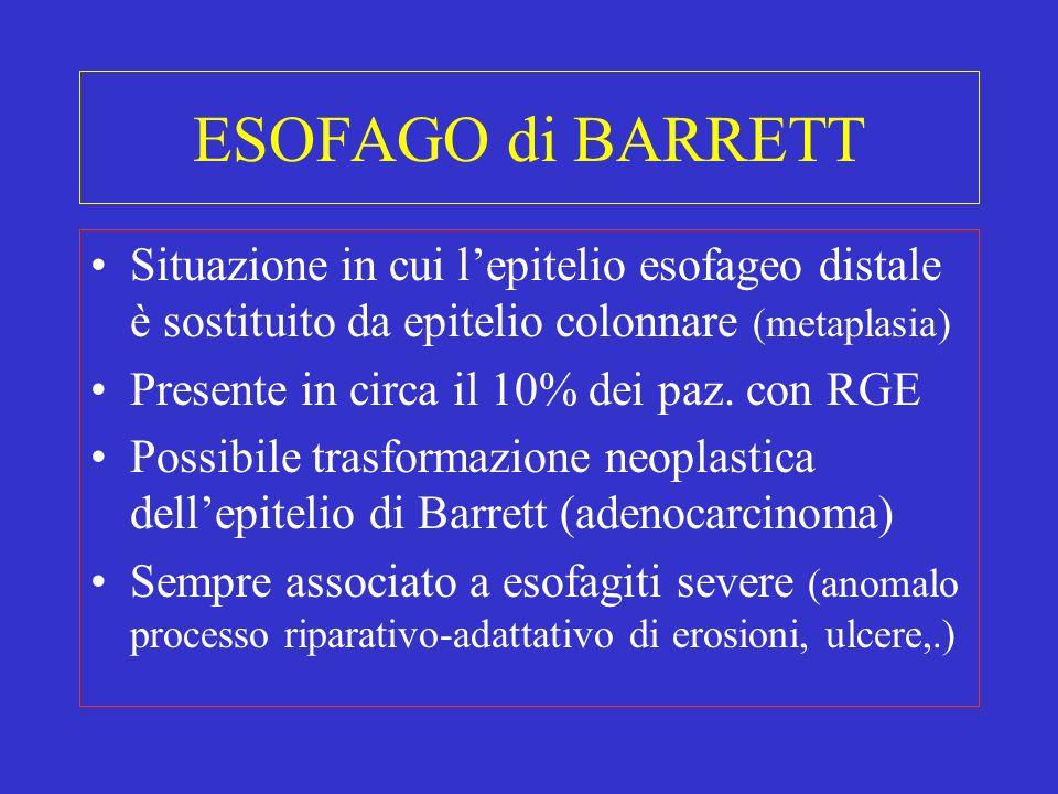 ESOFAGO di BARRETT Situazione in cui lepitelio esofageo distale è sostituito da epitelio colonnare (metaplasia) Presente in circa il 10% dei paz. con