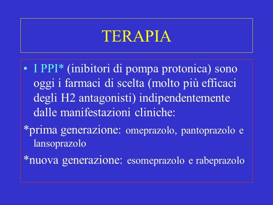 TERAPIA I PPI* (inibitori di pompa protonica) sono oggi i farmaci di scelta (molto più efficaci degli H2 antagonisti) indipendentemente dalle manifest