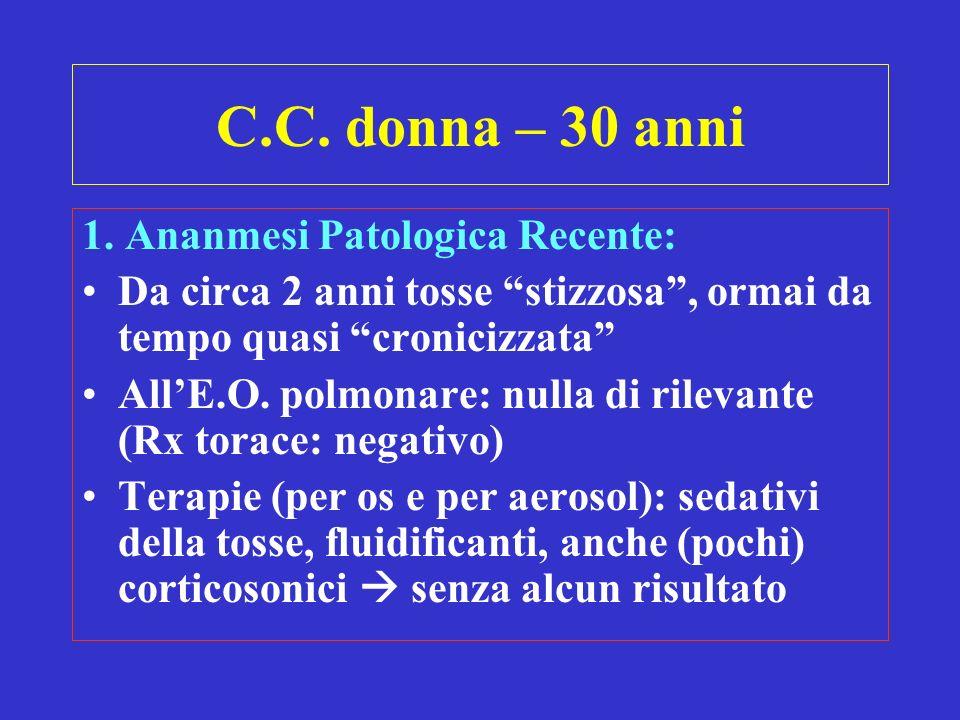 C.C. donna – 30 anni 1. Ananmesi Patologica Recente: Da circa 2 anni tosse stizzosa, ormai da tempo quasi cronicizzata AllE.O. polmonare: nulla di ril