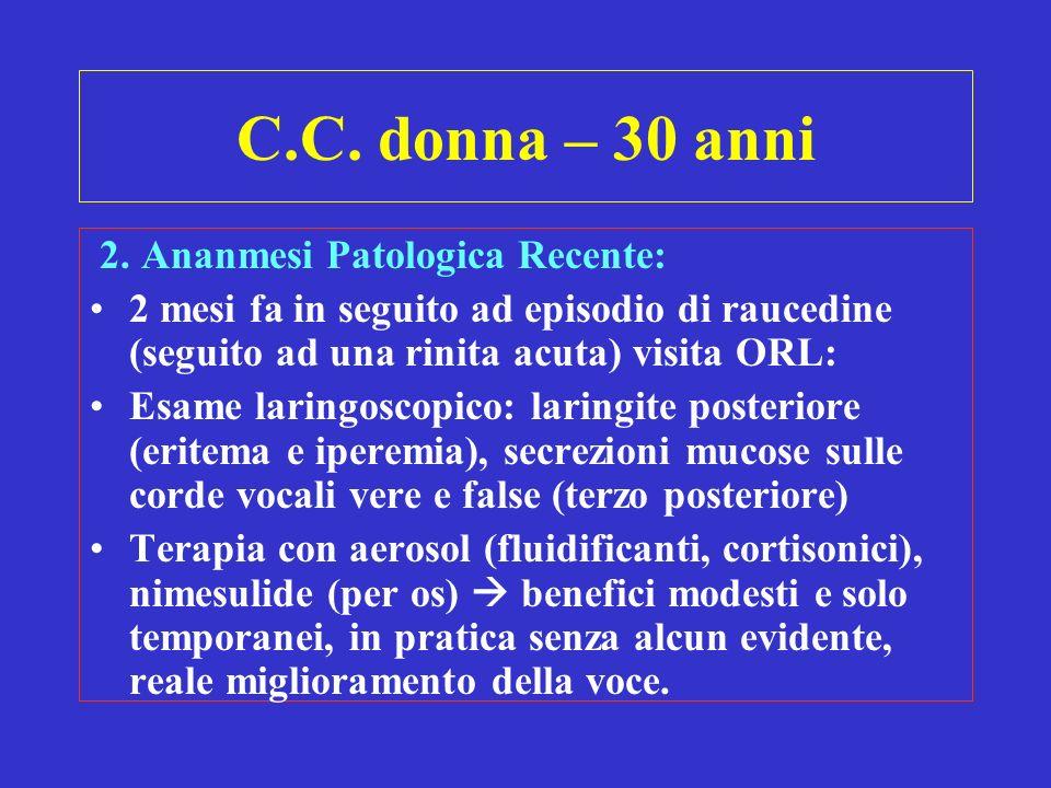 C.C. donna – 30 anni 2. Ananmesi Patologica Recente: 2 mesi fa in seguito ad episodio di raucedine (seguito ad una rinita acuta) visita ORL: Esame lar