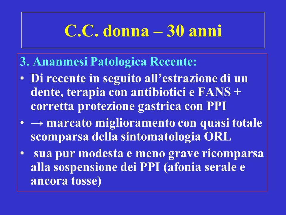C.C. donna – 30 anni 3. Ananmesi Patologica Recente: Di recente in seguito allestrazione di un dente, terapia con antibiotici e FANS + corretta protez