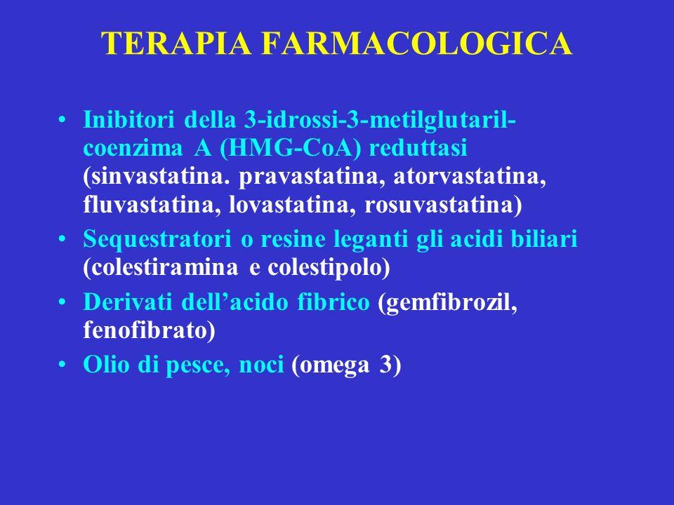TERAPIA FARMACOLOGICA Inibitori della 3-idrossi-3-metilglutaril- coenzima A (HMG-CoA) reduttasi (sinvastatina. pravastatina, atorvastatina, fluvastati