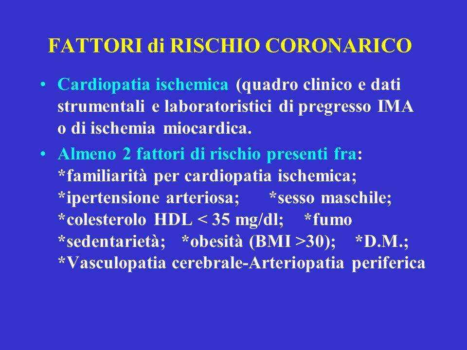 FATTORI di RISCHIO CORONARICO Cardiopatia ischemica (quadro clinico e dati strumentali e laboratoristici di pregresso IMA o di ischemia miocardica. Al