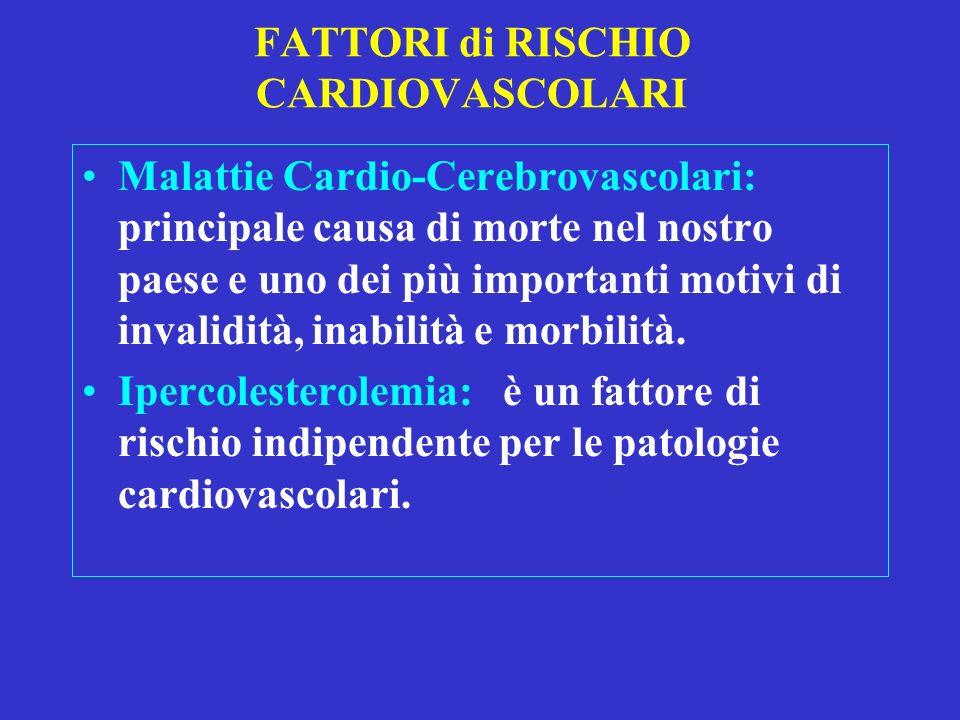 FATTORI di RISCHIO CARDIOVASCOLARI Malattie Cardio-Cerebrovascolari: principale causa di morte nel nostro paese e uno dei più importanti motivi di inv