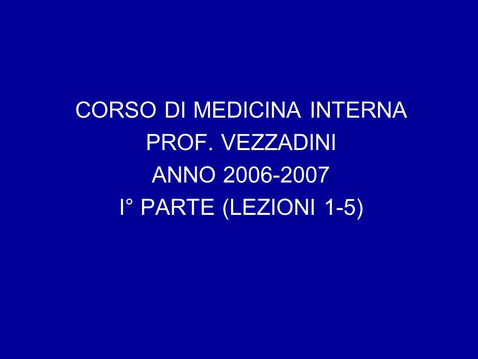 CORSO DI MEDICINA INTERNA PROF. VEZZADINI ANNO 2006-2007 I° PARTE (LEZIONI 1-5)