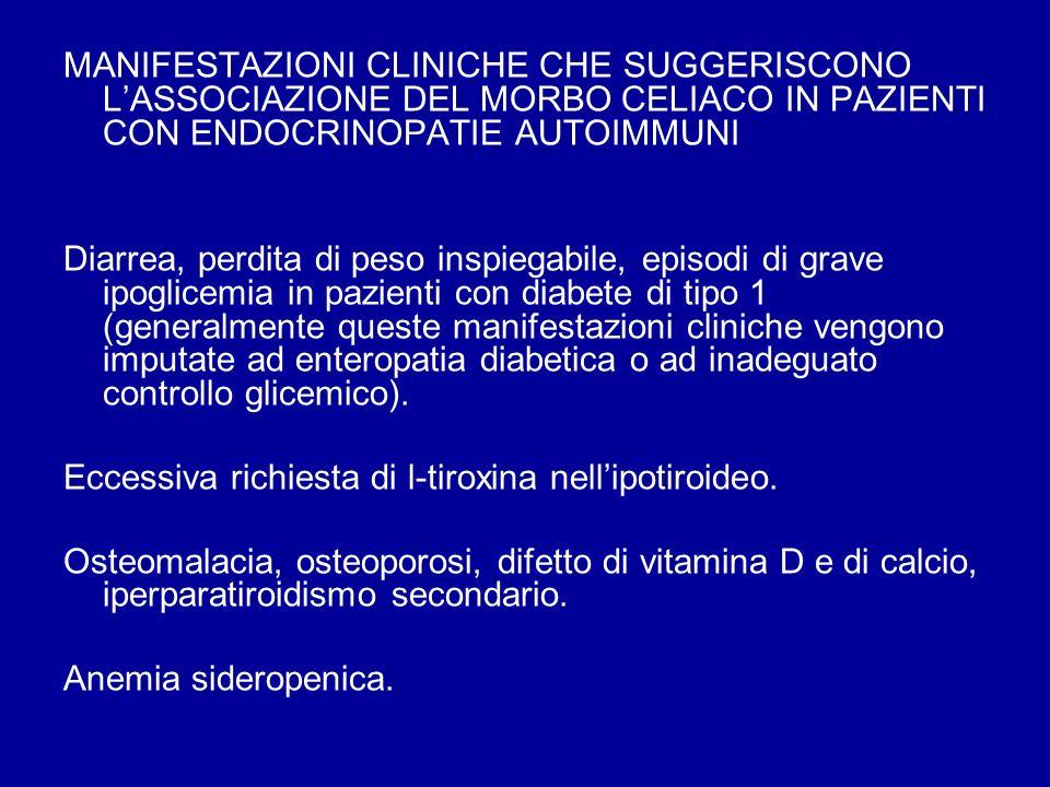 MANIFESTAZIONI CLINICHE CHE SUGGERISCONO LASSOCIAZIONE DEL MORBO CELIACO IN PAZIENTI CON ENDOCRINOPATIE AUTOIMMUNI Diarrea, perdita di peso inspiegabi