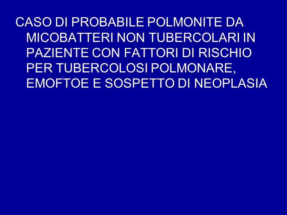CASO DI PROBABILE POLMONITE DA MICOBATTERI NON TUBERCOLARI IN PAZIENTE CON FATTORI DI RISCHIO PER TUBERCOLOSI POLMONARE, EMOFTOE E SOSPETTO DI NEOPLAS