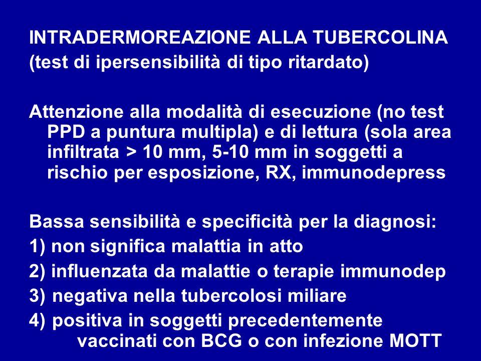 INTRADERMOREAZIONE ALLA TUBERCOLINA (test di ipersensibilità di tipo ritardato) Attenzione alla modalità di esecuzione (no test PPD a puntura multipla