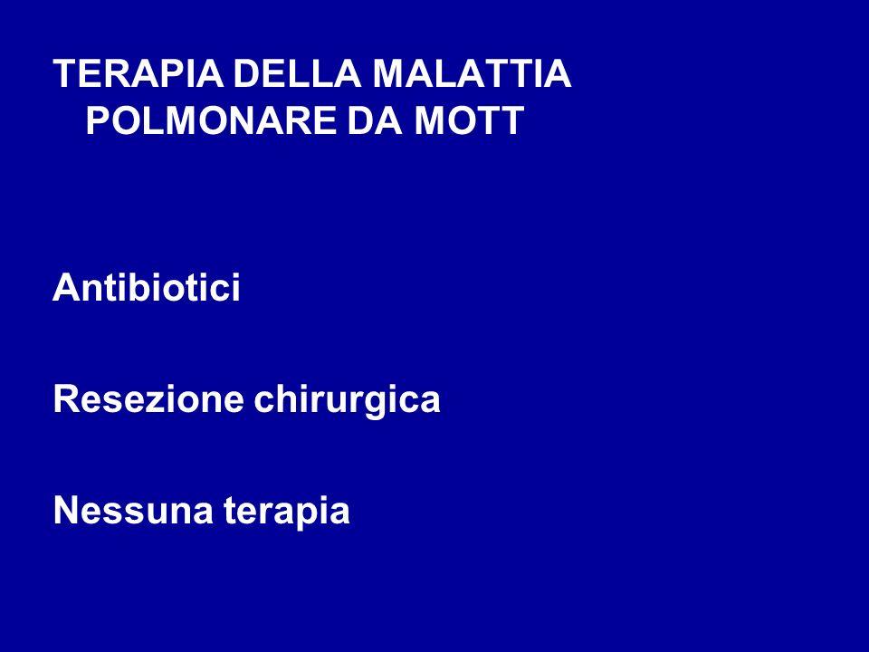 TERAPIA DELLA MALATTIA POLMONARE DA MOTT Antibiotici Resezione chirurgica Nessuna terapia